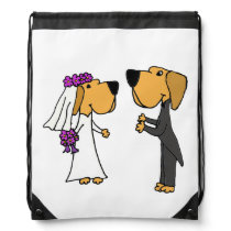 Funny Bride and Groom Labrador Retriever Art Drawstring Backpack