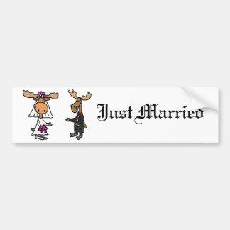 Funny Bride and Groom Moose Wedding Bumper Sticker