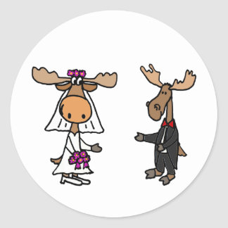 Funny Bride and Groom Moose Wedding Classic Round Sticker