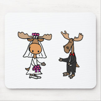 Funny Bride and Groom Moose Wedding Mouse Pad