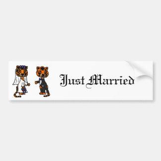 Funny Bride and Groom Tiger Wedding Art Bumper Sticker