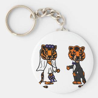 Funny Bride and Groom Tiger Wedding Art Key Chain