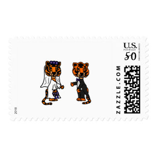 Funny Bride and Groom Tiger Wedding Art Postage