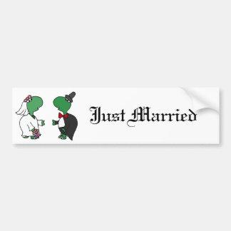 Funny Bride and Groom Turtle Wedding Design Car Bumper Sticker