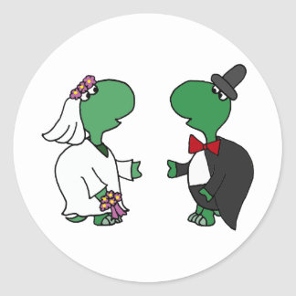 Funny Bride and Groom Turtle Wedding Design Classic Round Sticker
