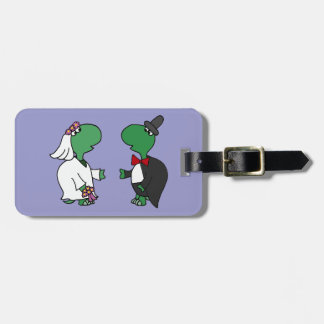 Funny Bride and Groom Turtle Wedding Design Luggage Tag
