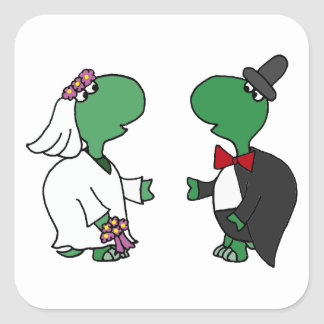 Funny Bride and Groom Turtle Wedding Design Square Sticker