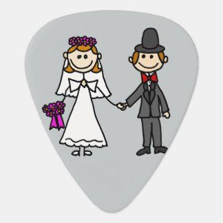 Funny Bride and Groom Wedding Cartoon Guitar Pick
