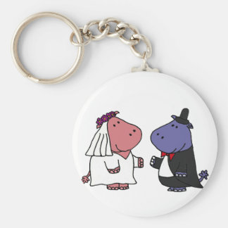 Funny Bride and Groom Wedding Cartoon Keychain