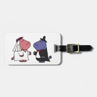 Funny Bride and Groom Wedding Cartoon Travel Bag Tags