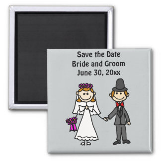 Funny Bride and Groom Wedding Cartoon 2 Inch Square Magnet