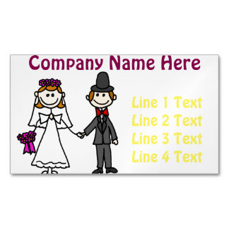 Funny Bride and Groom Wedding Cartoon Magnetic Business Card