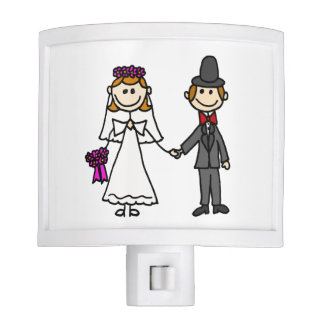 Funny Bride and Groom Wedding Cartoon Night Light