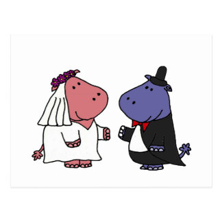 Funny Bride and Groom Wedding Cartoon Postcard