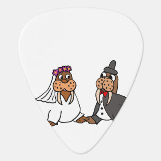 Funny Bride and Groom Wedding Walruses Guitar Pick