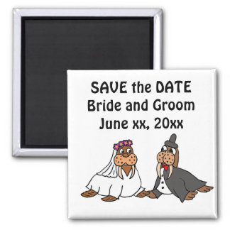 Funny Bride and Groom Wedding Walruses 2 Inch Square Magnet