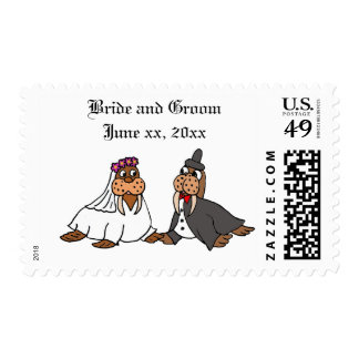 Funny Bride and Groom Wedding Walruses Postage