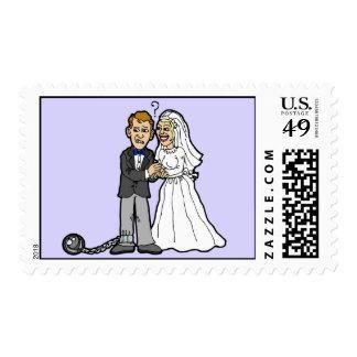 Funny Bride & Groom postage