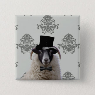 Funny bridegroom sheep in top hat button
