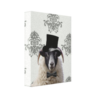 Funny bridegroom sheep in top hat canvas print