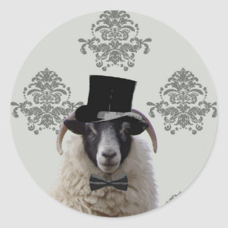 Funny bridegroom sheep in top hat classic round sticker
