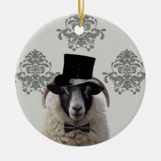 Funny bridegroom sheep in top hat Double-Sided ceramic round christmas ornament