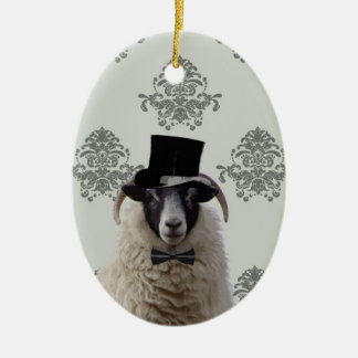 Funny bridegroom sheep in top hat Double-Sided oval ceramic christmas ornament