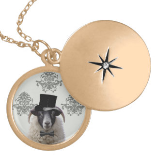 Funny bridegroom sheep in top hat gold plated necklace