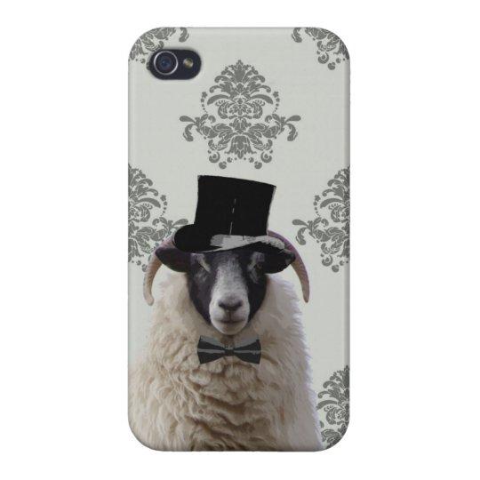 Funny bridegroom sheep in top hat iPhone 4 case