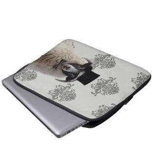 Funny bridegroom sheep in top hat laptop computer sleeve