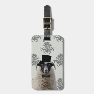 Funny bridegroom sheep in top hat luggage tag