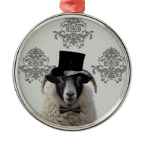 Funny bridegroom sheep in top hat metal ornament