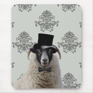 Funny bridegroom sheep in top hat mouse pad