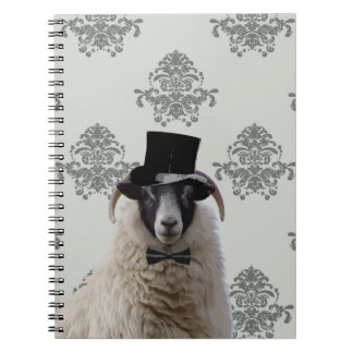 Funny bridegroom sheep in top hat spiral note books