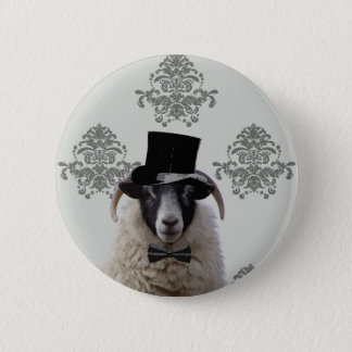 Funny bridegroom sheep in top hat pinback button