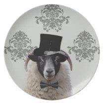 Funny bridegroom sheep in top hat plate