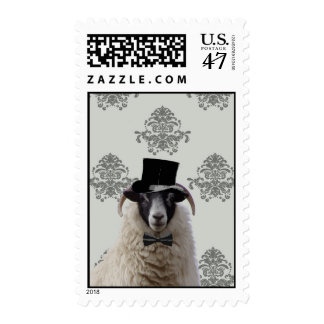 Funny bridegroom sheep in top hat postage