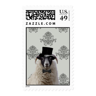 Funny bridegroom sheep in top hat postage stamp