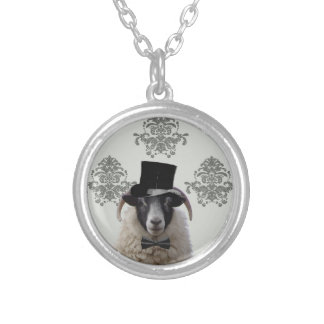 Funny bridegroom sheep in top hat silver plated necklace