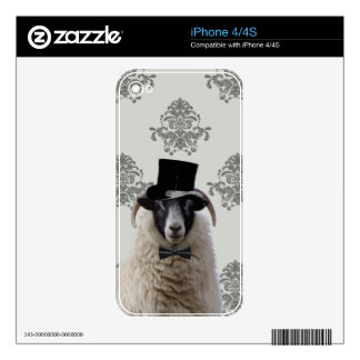 Funny bridegroom sheep in top hat skin for the iPhone 4