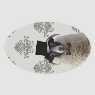 Funny bridegroom sheep in top hat oval sticker
