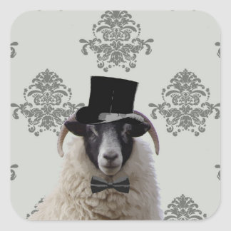 Funny bridegroom sheep in top hat square sticker