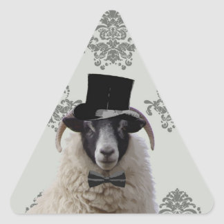 Funny bridegroom sheep in top hat triangle sticker