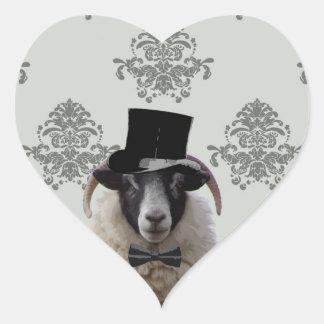 Funny bridegroom sheep in top hat heart sticker