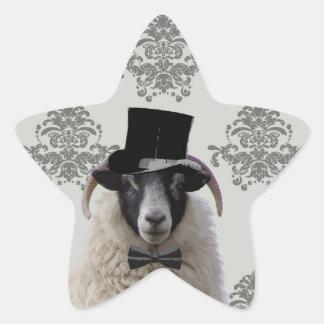 Funny bridegroom sheep in top hat star sticker
