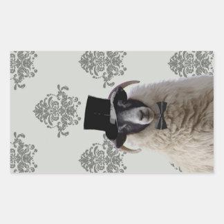 Funny bridegroom sheep in top hat rectangular sticker