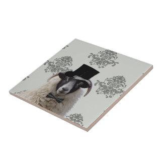 Funny bridegroom sheep in top hat tiles