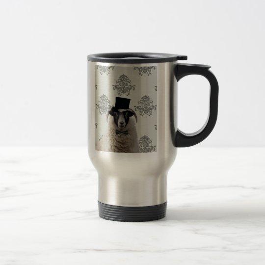 Funny bridegroom sheep in top hat travel mug