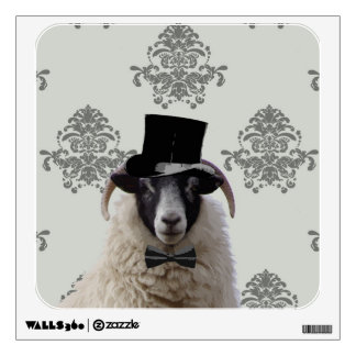 Funny bridegroom sheep in top hat wall sticker