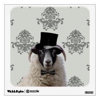 Funny bridegroom sheep in top hat wall decor
